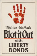 "Movie Posters:War, World War I Propaganda (U.S. Government Printing, 1917). Liberty Bond Poster (19.5"" X 30"") ""The Hun - His Mark - Blot it Out..."