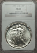 Modern Bullion Coins: , 1986 $1 Silver Eagle MS70 NGC. NGC Census: (1403). PCGS Population (51). Numismedia Wsl. Price for problem free NGC/PCGS c...
