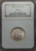 Coins of Hawaii , 1883 25C Hawaii Quarter MS65 NGC. NGC Census: (148/125). PCGSPopulation (180/122). Mintage: 242,600. ...