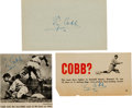 Baseball Collectibles:Photos, 1950's Ty Cobb Signed Magazine Photographs & Parchment Lot of3. ...