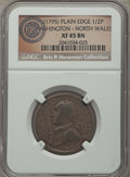 Colonials, 1795 1/2 P Washington North Wales Halfpenny, Plain Edge, One Star at Each Side of Harp XF45 Brown NGC. Ex: Eric P. Newman C...
