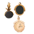 Timepieces:Watch Chains & Fobs, Gold Locket, Carnelian & Blood Stone Fob & Eagle BloodStone Fob. ... (Total: 3 Items)