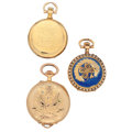 Timepieces:Pocket (post 1900), Two Swiss & One Longines Gold Pocket Watches. ... (Total: 3 Items)