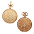 Timepieces:Pocket (post 1900), Elgin & Waltham 14k Gold Hunter's Case Pocket Watches. ...(Total: 2 Items)