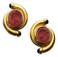 Estate Jewelry:Earrings, Carnelian, Tourmaline, Gold Earrings. ... (Total: 2 Items)