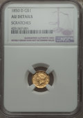 Gold Dollars, 1850-D G$1 -- Scratches -- NGC Details. AU. Variety 2-C....
