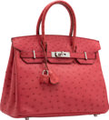 """Luxury Accessories:Bags, Hermes 30cm Bougainvillea Ostrich Birkin Bag with PalladiumHardware. N Square, 2010. Excellent Condition. 12""""Wid..."""