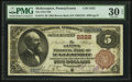 National Bank Notes:Pennsylvania, McKeesport, PA - $5 1882 Brown Back Fr. 474 The First NB Ch. #2222. ...