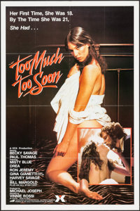 "Too Much Too Soon (VCX, 1984). One Sheet (27"" X 40.75"") & Uncut Pressbook (4 Pages, 9"" X 12""). A..."