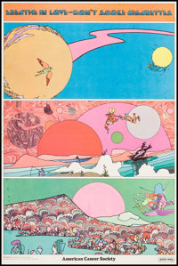 "Breathe in Love - Don't Smoke Cigarettes by Peter Max (American Cancer Society, 1970s). Poster (16.25"" X 24.5""..."