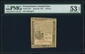 Colonial Notes:Pennsylvania, Pennsylvania April 20, 1781 3d PMG About Uncirculated 53 EPQ.. ...