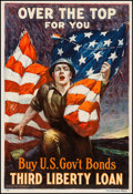 "Movie Posters:War, World War I Propaganda (Ketterlinus, 1918). Liberty Loan Poster(20"" X 30""). ""Over the Top For You."" War.. ..."
