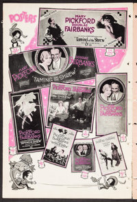 "Taming of the Shrew (United Artists, 1929). Uncut Pressbook (22 Pages, 12"" X 18""). Comedy"