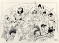 Mainstream Illustration, Al Hirschfeld (American, 1903-2003). Carnegie Hall, 100thAnniversary, 1991. Ink on board. 24 x 30 in.. Signed lowerrig...