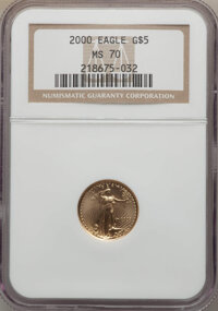 2000 $5 Tenth-Ounce Gold Eagle MS70 NGC. NGC Census: (7195). PCGS Population: (53). CDN: $390 Whsle. Bid for NGC/PCGS MS...