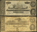 Confederate Notes:1863 Issues, T60 $5 1863.. T67 $20 1864.. ... (Total: 2 notes)