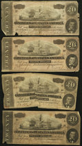 Confederate Notes:1864 Issues, T67 $20 1864. Four Examples.. ... (Total: 4 notes)