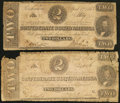 Confederate Notes:1863 Issues, T61 $2 1863. Two Examples.. ... (Total: 2 notes)