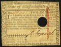 Colonial Notes:Massachusetts, Massachusetts May 5, 1780 $2 Hole Cancel Fine.. ...
