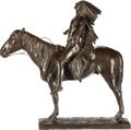 Fine Art - Painting, American:Antique  (Pre 1900), Cyrus Edwin Dallin (American, 1861-1944). Appeal to the GreatSpirit, 1913. Bronze with brown patina. 21-1/4 inches (54....