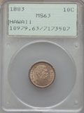Coins of Hawaii , 1883 10C Hawaii Ten Cents MS63 PCGS....