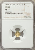 California Fractional Gold , Undated(1853) 25C Liberty Round 25 Cents, BG-222, R.2, MS65 NGC.NGC Census: (17/4). PCGS Population (16/2)....