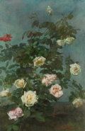 Fine Art - Painting, American:Antique  (Pre 1900), George Cochran Lambdin (American, 1830-1896). Spray ofRoses, 1884. Oil on canvas. 30 x 20 inches (76.2 x 50.8 cm).Sign...
