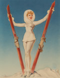 Pin-up and Glamour Art, Alberto Vargas (American, 1896-1982). Ski Troops Girl, AmericanWeekly cover, 1943. Watercolor and gouache on board. 22....