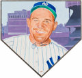 Baseball Collectibles:Others, Yogi Berra Signed Original Artwork Home Plate Plaque....