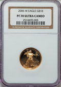 Modern Bullion Coins, 2006-W $10 Quarter-Ounce Gold Eagle PR70 Ultra Cameo NGC. NGC Census: (0). PCGS Population (362). Numismedia Wsl. Price fo...
