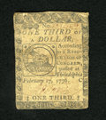 Colonial Notes:Continental Congress Issues, Continental Currency February 17, 1776 $1/3 Fine. A rather pleasingexample of this popular Fugio fractional denomination th...