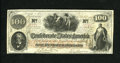 Confederate Notes:1862 Issues, T41 $100 1862. Light folds are found on this Scroll 2 C-note thathas a few pinholes and another internal aperture that is a...