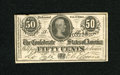 Confederate Notes:1864 Issues, T72 50 Cents 1864. This embossed Crisp Uncirculated 1st Series note has a top edge notch....