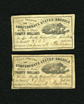Confederate Notes:Group Lots, Ball 148 Cr. 111 Two $20 1862 Bond Coupons. Both of these Finecoupons come from bond number 8733.. ... (Total: 2 items)