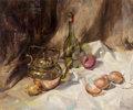 Fine Art - Painting, American:Contemporary   (1950 to present)  , Clark Hulings (American, 1922-2011). Still Life with Wine andOnions, 1971. Oil on canvas. 20 x 24 inches (50.8 x 61.0 c...