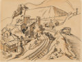 Fine Art - Work on Paper:Drawing, Thomas Hart Benton (American, 1889-1975). Mining Village,1930. Ink, watercolor, and pencil on paper. 9 x 11-3/4 inches ...