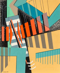 Paul Kelpe (American, 1902-2002) Abstract Composition Gouache on board 15-1/2 x 12-1/2 inches (39