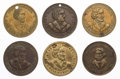 Political:Tokens & Medals, John Frémont: Six Tokens.... (Total: 6 Items)
