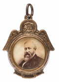 Political:Ferrotypes / Photo Badges (pre-1896), Benjamin Harrison: Albumen Photo Watch Fob Charm....
