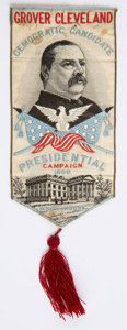 Political:Ribbons & Badges, Grover Cleveland: Woven Ribbon....