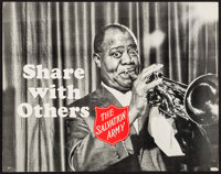 """Louis Armstrong for The Salvation Army (The Salvation Army, c.1960s). Promotional Poster (22"""" X 28"""") """"Sha..."""