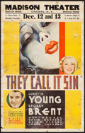 "Movie Posters:Romance, They Call It Sin (Warner Brothers, 1932). Window Card (14"" X 22""). Romance.. ..."