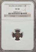 Colombia, Colombia: Ferdinand VII 1/4 Real 1812-NR VF30 NGC,...