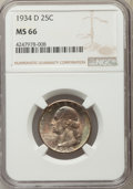 Washington Quarters, 1934-D 25C Heavy Motto MS66 NGC....