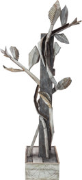 Post-War & Contemporary:Sculpture, David Bates (b. 1952). Vine, 2012. Bronze with white paintand patina. 48-1/2 x 9-1/2 x 15-1/2 inches (123.2 x 24.1 x 39...