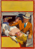 Pulp, Pulp-like, Digests, and Paperback Art, Norman Saunders (American, 1907-1989). Reunion with Death, TenDetective Aces pulp magazine cover, April 1938. Oil on ca...
