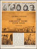 "Movie Posters:Drama, The Greatest Story Ever Told (United Artists, 1965). Poster (30"" X 40""). Drama.. ..."