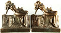 Books:Furniture & Accessories, [Bookends]. Pair of Matching Metal Bookends Depicting Nude withLyre and Dog. Unsigned, undated.... (Total: 2 Items)