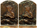 Books:Furniture & Accessories, [Bookends]. Pair of Matching Brass Bookends Depicting Seated Child.Signed Old English, undated.... (Total: 2 Items)