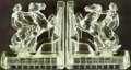 Books:Furniture & Accessories, [Bookends]. Pair of Matching Glass Bookends Depicting Nude on Rearing Horse. [Cambridge Glass, Circa 1940].... (Total: 2 Items)